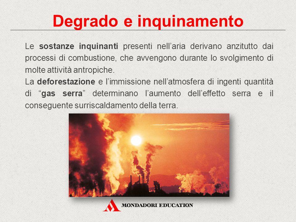 Degrado e inquinamento Le sostanze inquinanti presenti nell'aria derivano anzitutto dai processi di combustione, che avvengono durante lo svolgimento