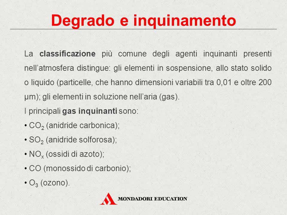Degrado e inquinamento La classificazione più comune degli agenti inquinanti presenti nell'atmosfera distingue: gli elementi in sospensione, allo stat