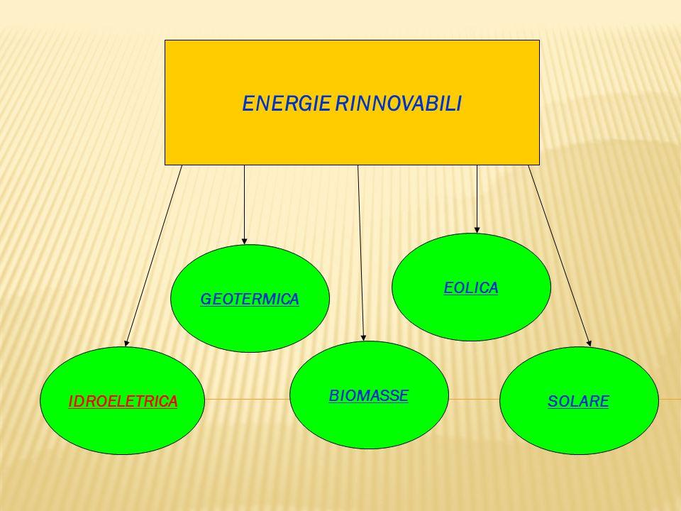 ENERGIE RINNOVABILI IDROELETRICASOLARE BIOMASSE EOLICA GEOTERMICA