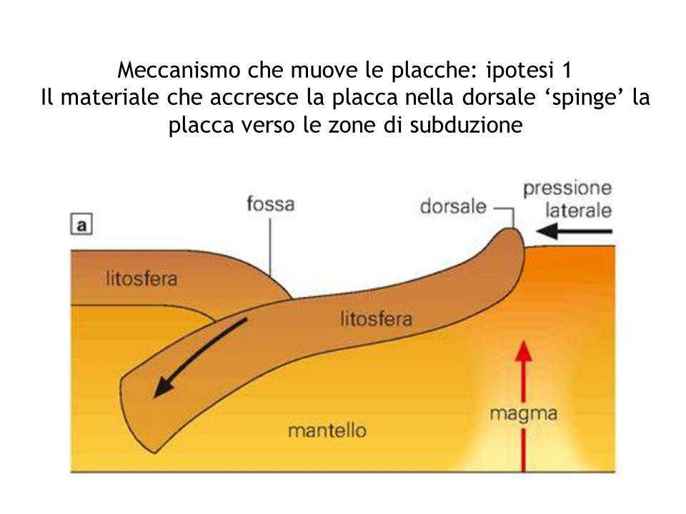 Meccanismo che muove le placche: ipotesi 1 Il materiale che accresce la placca nella dorsale 'spinge' la placca verso le zone di subduzione