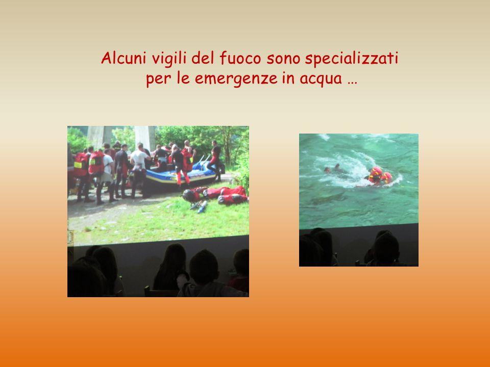 Alcuni vigili del fuoco sono specializzati per le emergenze in acqua …