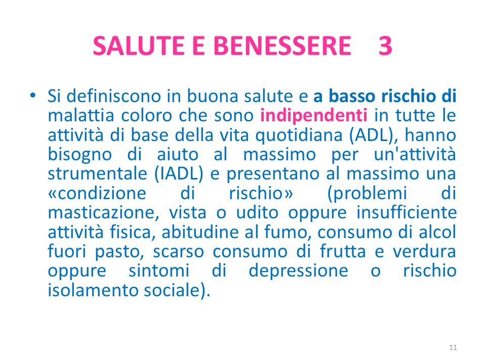 SALUTE E BENESSERE 3 Si definiscono in buona salute e a basso rischio di malattia coloro che sono indipendenti in tutte le attività di base della vita