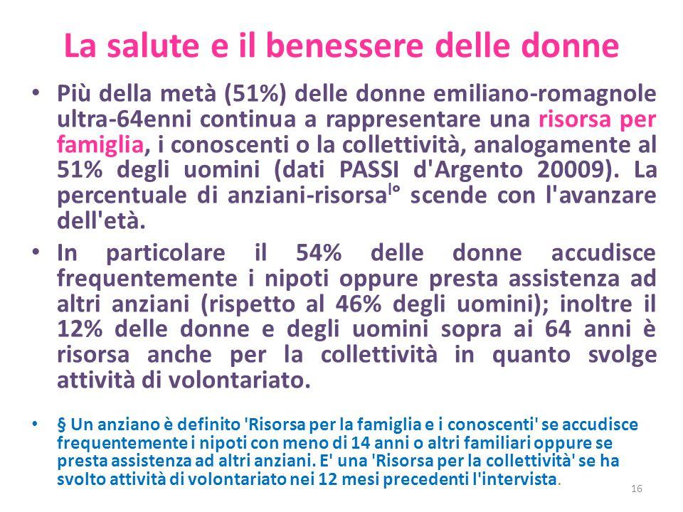 La salute e il benessere delle donne Più della metà (51%) delle donne emiliano-romagnole ultra-64enni continua a rappresentare una risorsa per famiglia, i conoscenti o la collettività, analogamente al 51% degli uomini (dati PASSI d Argento 20009).