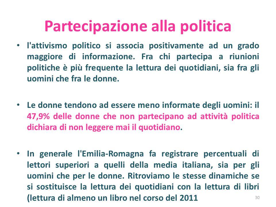 Partecipazione alla politica l'attivismo politico si associa positivamente ad un grado maggiore di informazione. Fra chi partecipa a riunioni politich