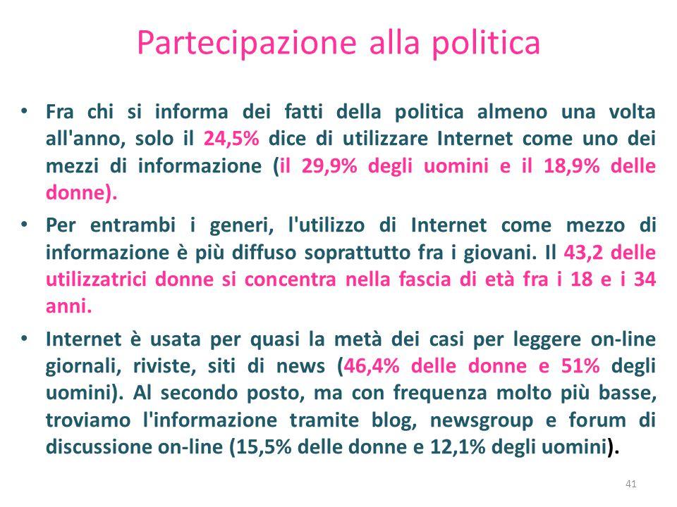 Partecipazione alla politica Fra chi si informa dei fatti della politica almeno una volta all anno, solo il 24,5% dice di utilizzare Internet come uno dei mezzi di informazione (il 29,9% degli uomini e il 18,9% delle donne).