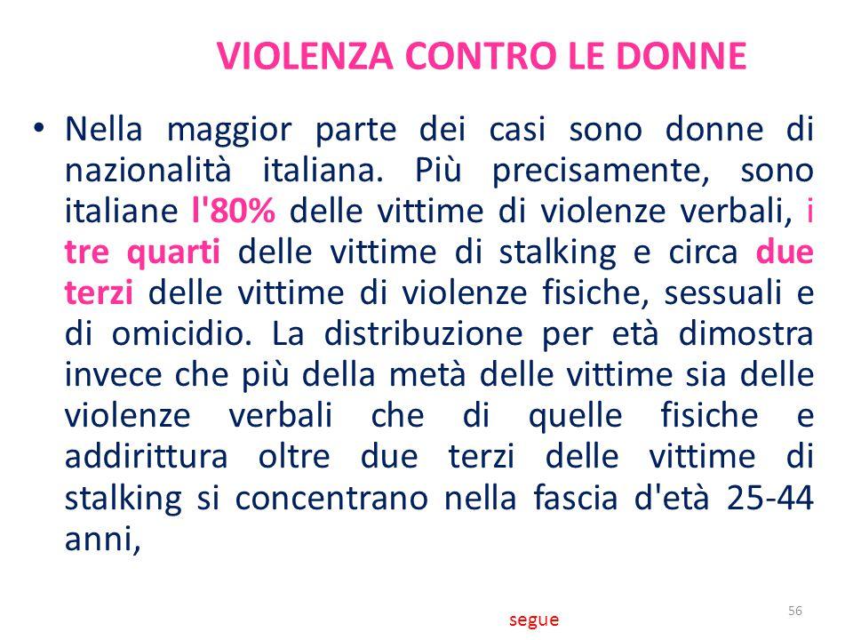 VIOLENZA CONTRO LE DONNE Nella maggior parte dei casi sono donne di nazionalità italiana. Più precisamente, sono italiane l'80% delle vittime di viole