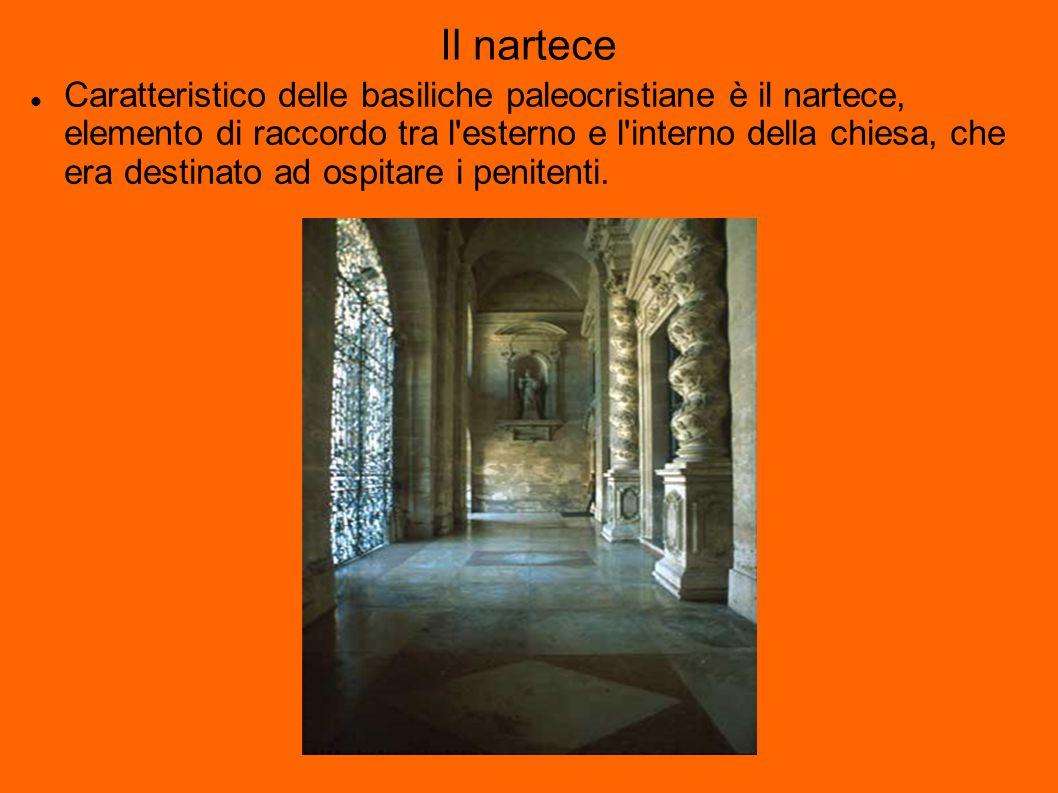 Il nartece Caratteristico delle basiliche paleocristiane è il nartece, elemento di raccordo tra l esterno e l interno della chiesa, che era destinato ad ospitare i penitenti.