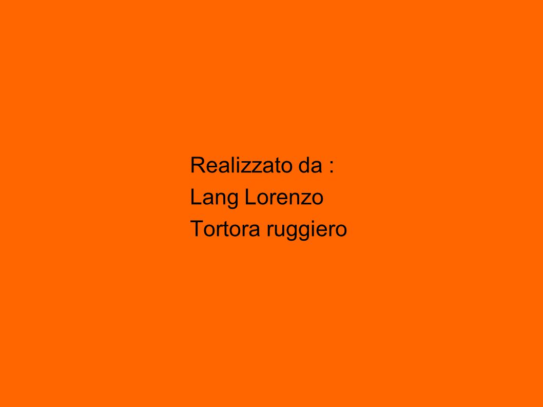 Realizzato da : Lang Lorenzo Tortora ruggiero