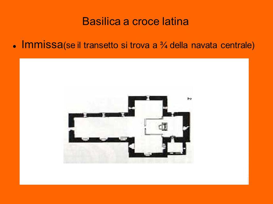 Basilica a croce latina Immissa (se il transetto si trova a ¾ della navata centrale)
