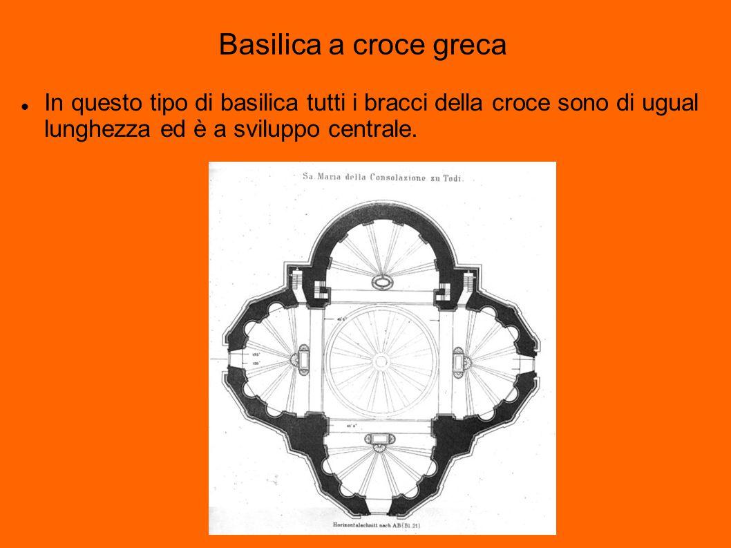 Basilica a croce greca In questo tipo di basilica tutti i bracci della croce sono di ugual lunghezza ed è a sviluppo centrale.
