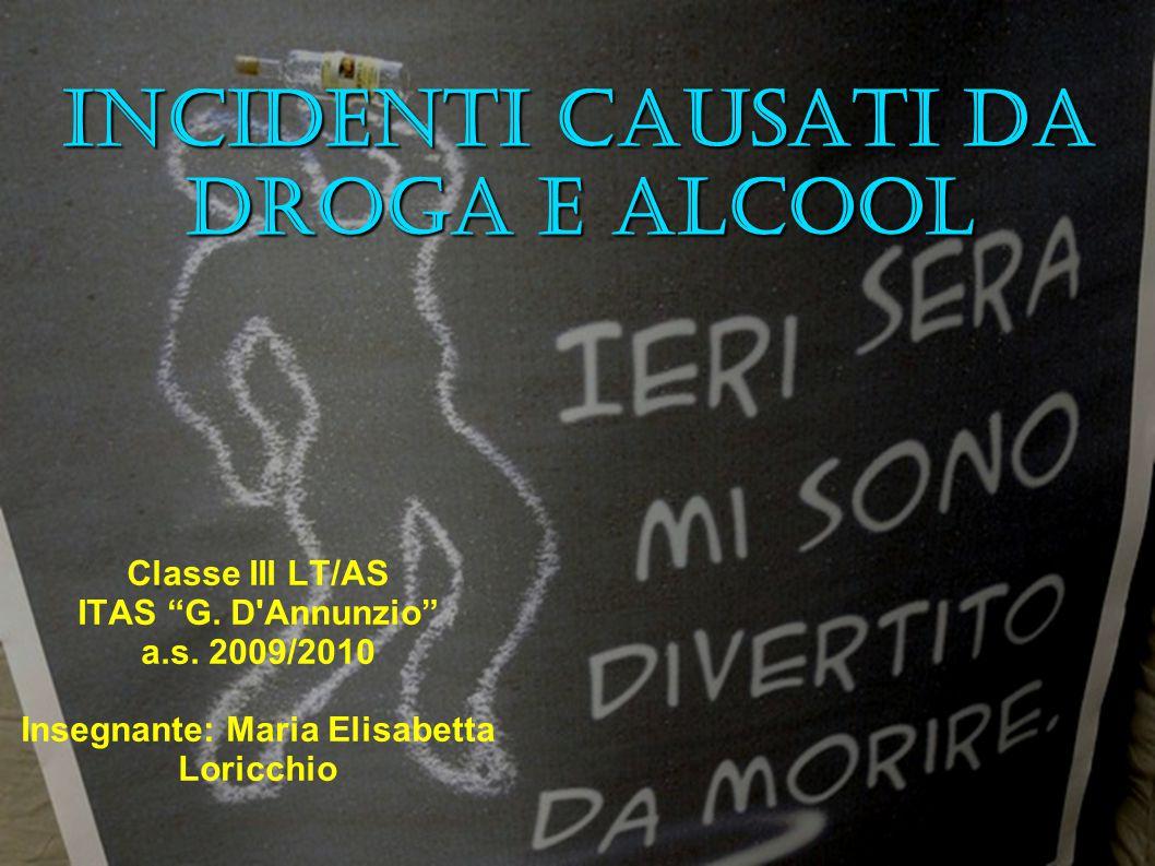 "Incidenti causati da droga e alcool Classe III LT/AS ITAS ""G. D'Annunzio"" a.s. 2009/2010 Insegnante: Maria Elisabetta Loricchio"