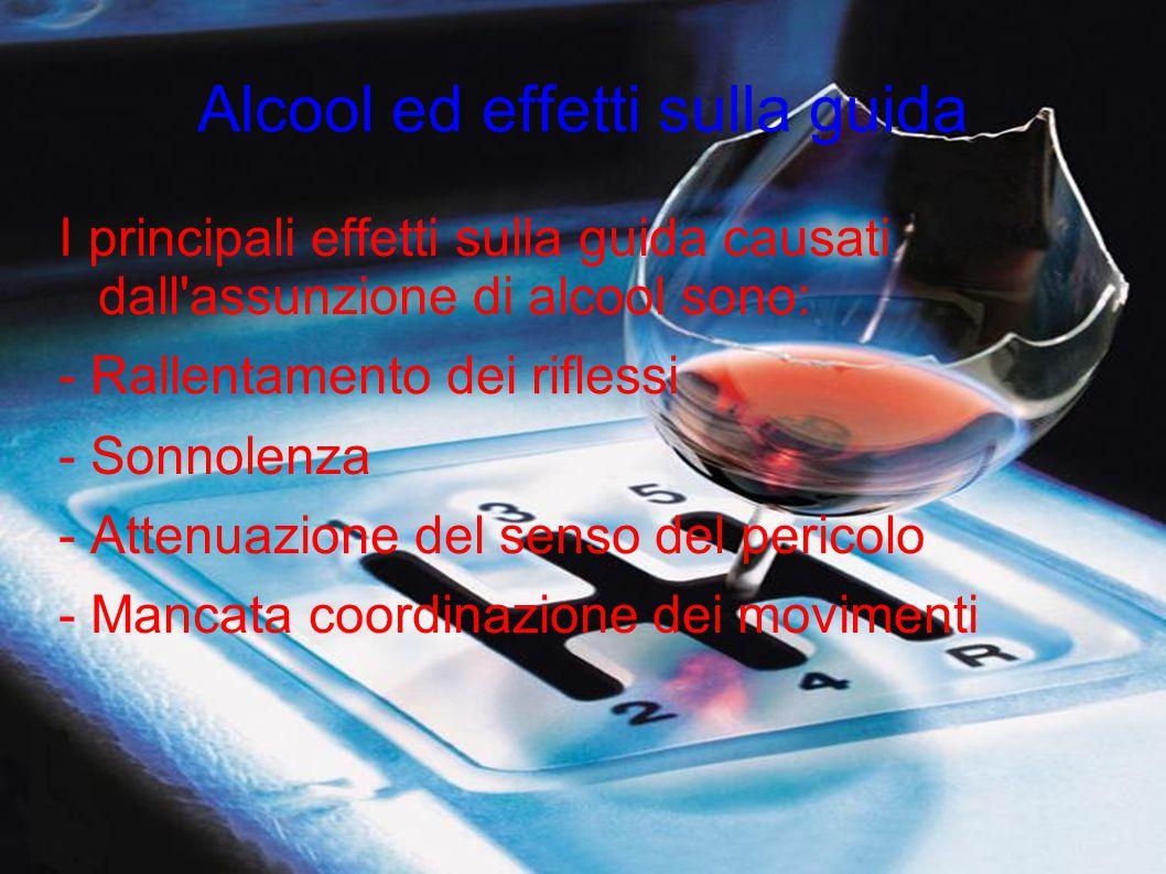 Alcool ed effetti sulla guida I principali effetti sulla guida causati dall'assunzione di alcool sono: - Rallentamento dei riflessi - Sonnolenza - Att