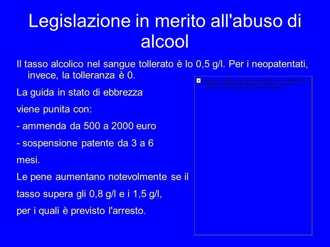 Legislazione in merito all'abuso di alcool Il tasso alcolico nel sangue tollerato è lo 0,5 g/l. Per i neopatentati, invece, la tolleranza è 0. La guid