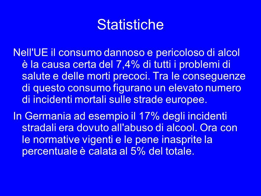 Statistiche Nell'UE il consumo dannoso e pericoloso di alcol è la causa certa del 7,4% di tutti i problemi di salute e delle morti precoci. Tra le con