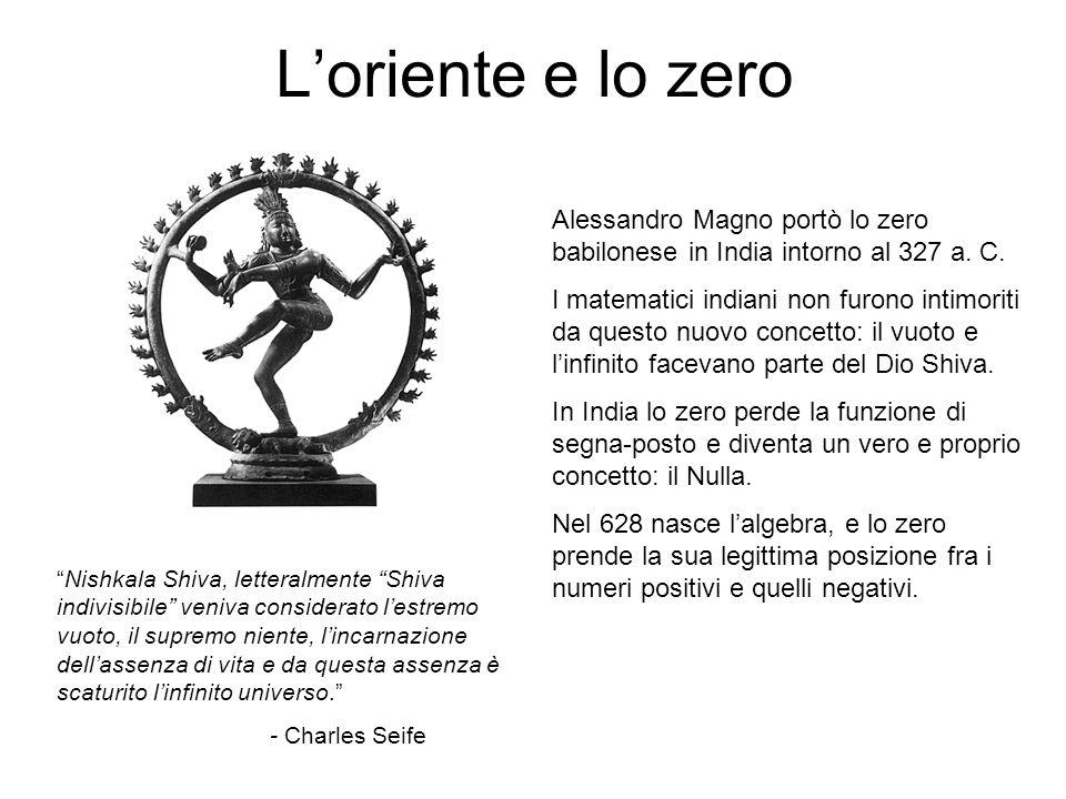 """L'oriente e lo zero """"Nishkala Shiva, letteralmente """"Shiva indivisibile"""" veniva considerato l'estremo vuoto, il supremo niente, l'incarnazione dell'ass"""
