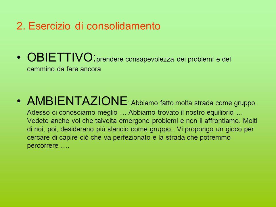 2. Esercizio di consolidamento OBIETTIVO: prendere consapevolezza dei problemi e del cammino da fare ancora AMBIENTAZIONE : Abbiamo fatto molta strada