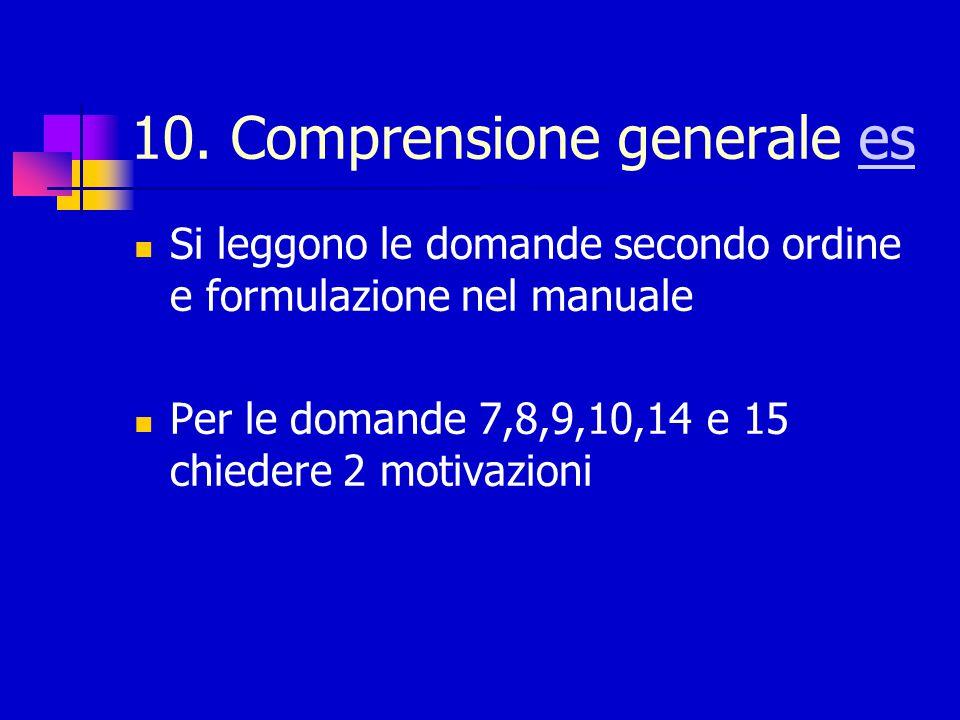 Interruzione e punteggio Ogni item ottiene punteggio 2, 1 o 0 secondo il grado di generalizzazione e qualità della risposta Criteri generali ed esempi di punteggio sul manuale Interruzione dopo 4 insuccessi consecutivi