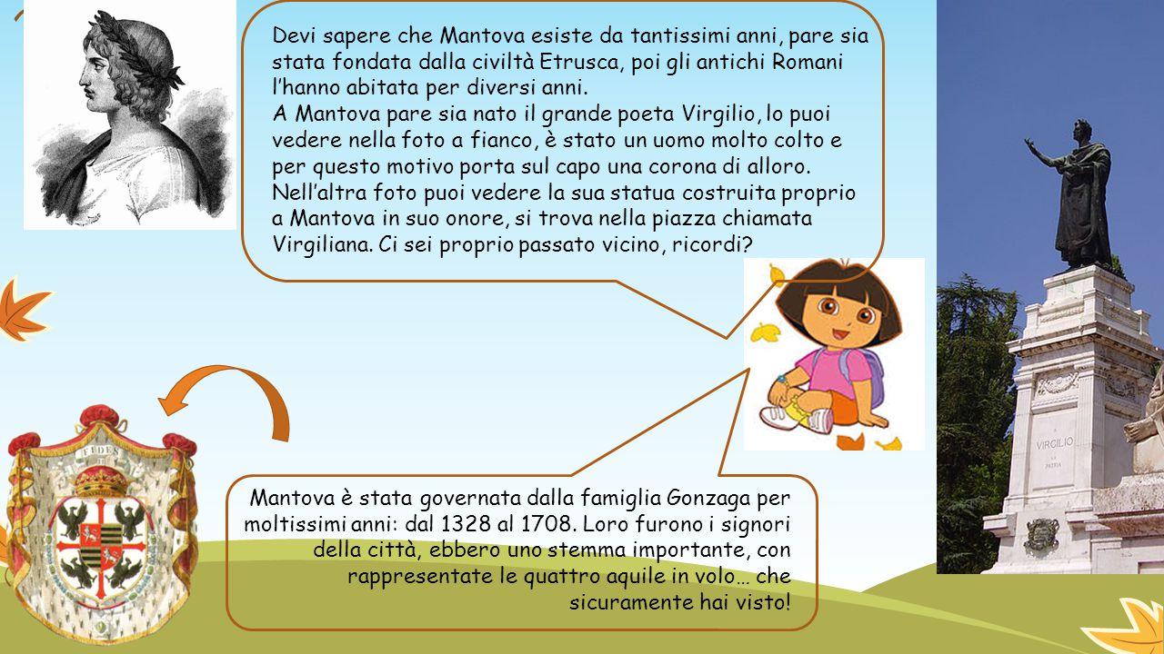 Devi sapere che Mantova esiste da tantissimi anni, pare sia stata fondata dalla civiltà Etrusca, poi gli antichi Romani l'hanno abitata per diversi an