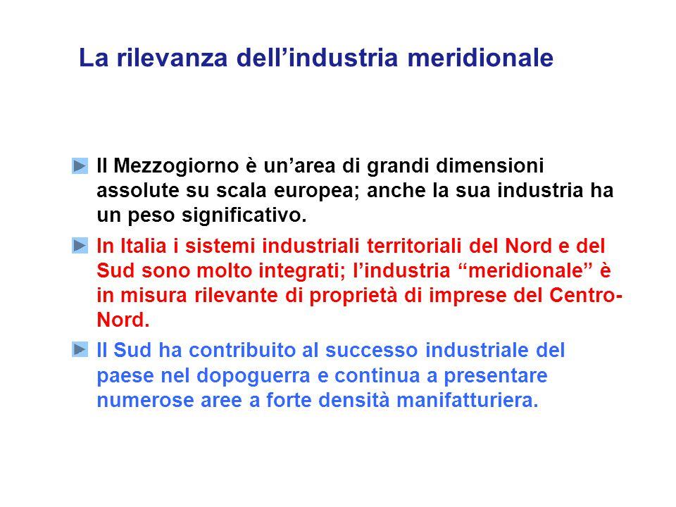 La rilevanza dell'industria meridionale  Il Mezzogiorno è un'area di grandi dimensioni assolute su scala europea; anche la sua industria ha un peso significativo.