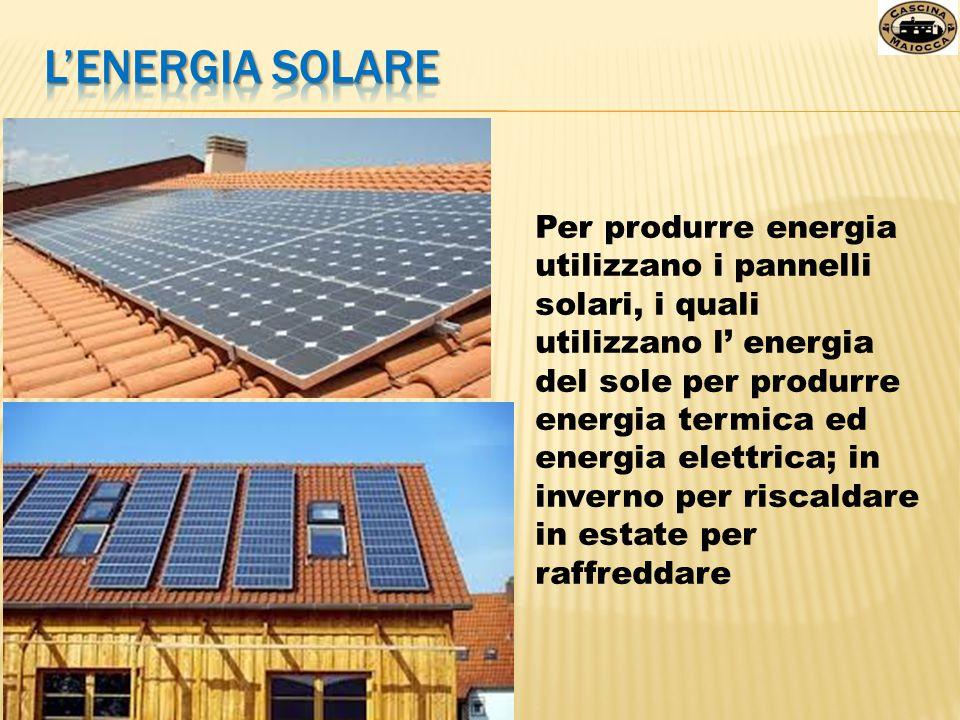 Per produrre energia utilizzano i pannelli solari, i quali utilizzano l' energia del sole per produrre energia termica ed energia elettrica; in invern