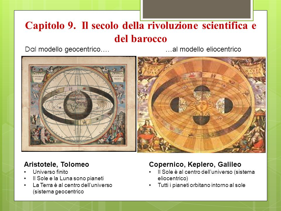 Capitolo 9. Il secolo della rivoluzione scientifica e del barocco Dal modello geocentrico….…al modello eliocentrico Aristotele, Tolomeo Universo finit