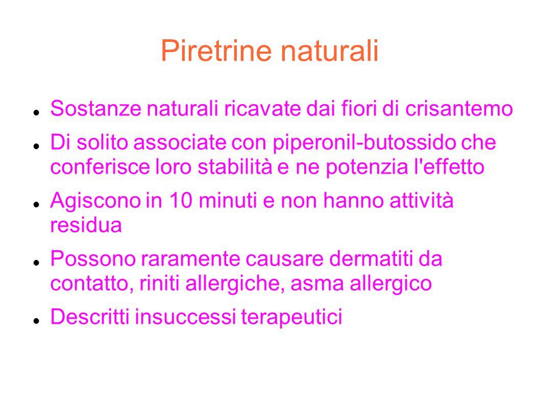 Piretrine naturali Sostanze naturali ricavate dai fiori di crisantemo Di solito associate con piperonil-butossido che conferisce loro stabilità e ne p