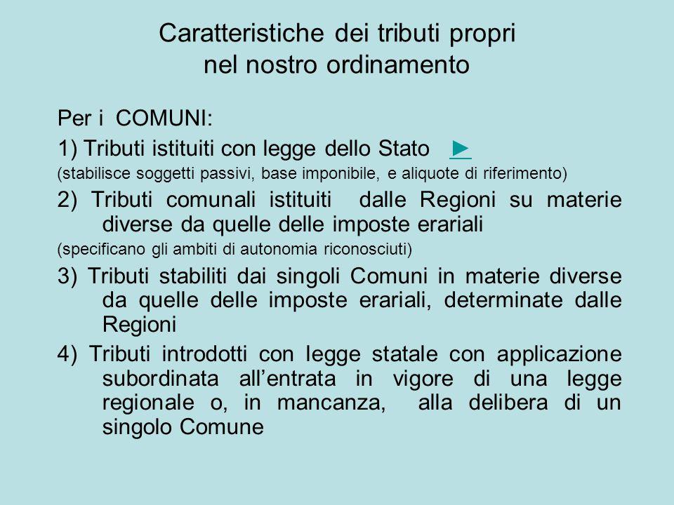 Per i COMUNI: 1) Tributi istituiti con legge dello Stato ►► (stabilisce soggetti passivi, base imponibile, e aliquote di riferimento) 2) Tributi comun
