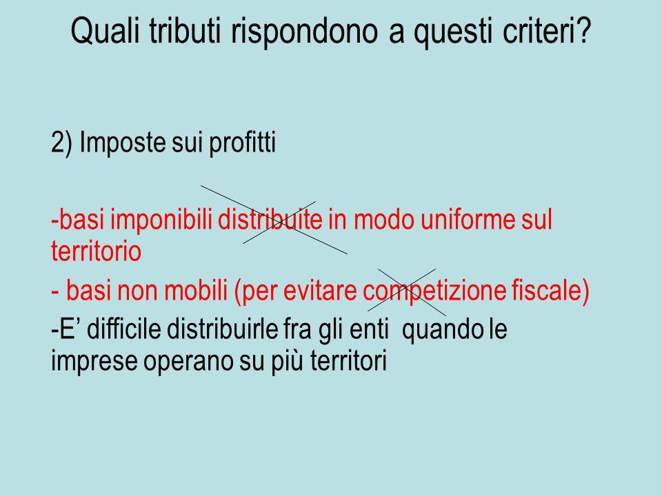 Quali tributi rispondono a questi criteri? 2) Imposte sui profitti - -basi imponibili distribuite in modo uniforme sul territorio - - basi non mobili