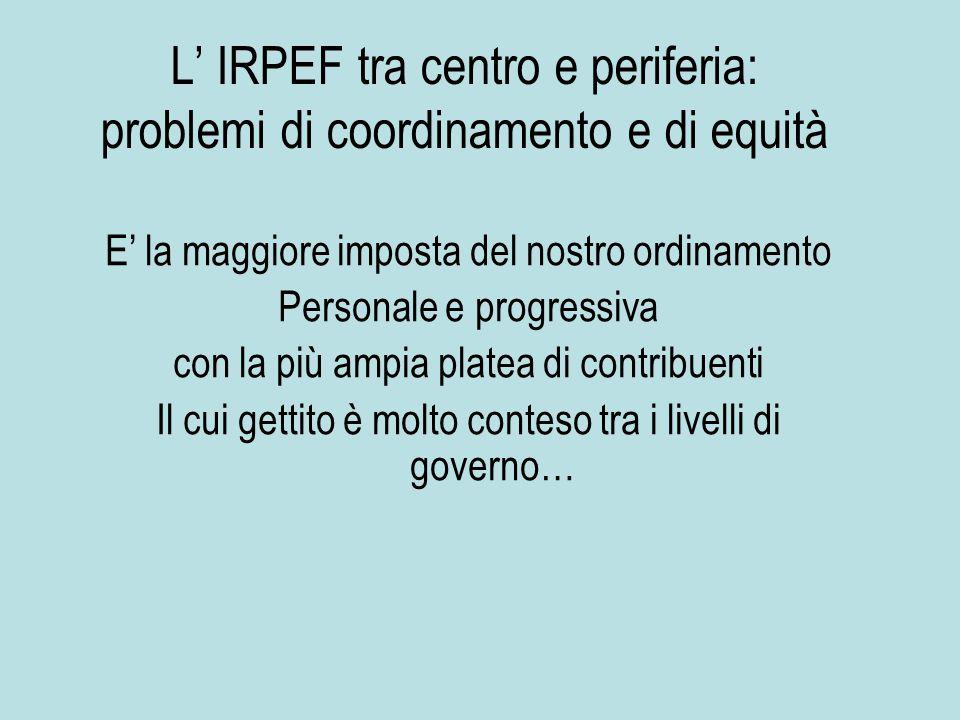 L' IRPEF tra centro e periferia: problemi di coordinamento e di equità E' la maggiore imposta del nostro ordinamento Personale e progressiva con la più ampia platea di contribuenti Il cui gettito è molto conteso tra i livelli di governo…