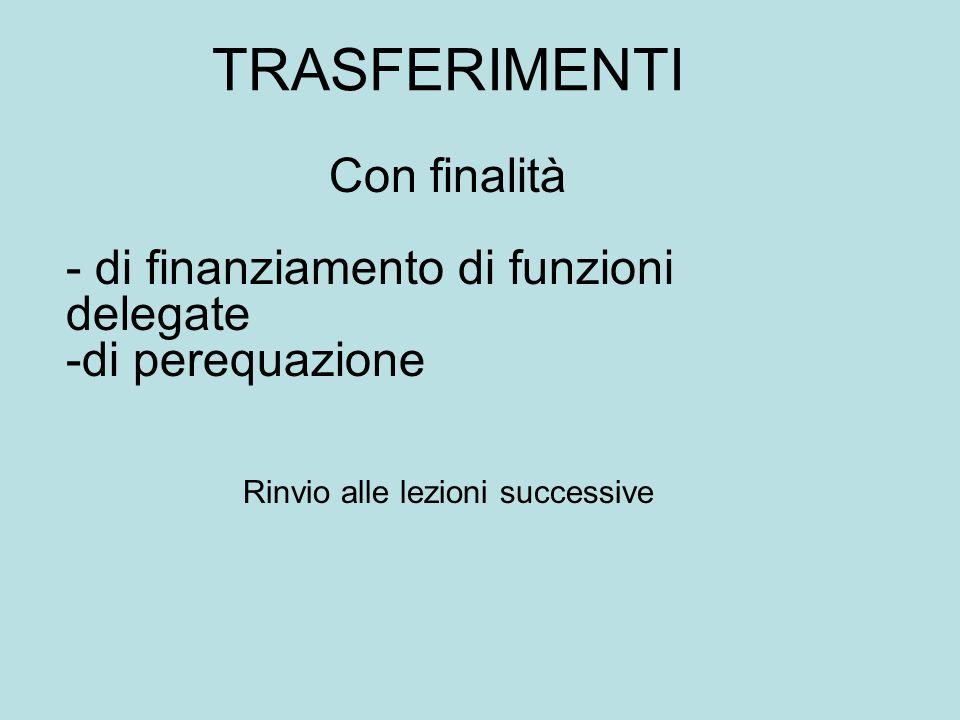 TRASFERIMENTI Con finalità - di finanziamento di funzioni delegate -di perequazione Rinvio alle lezioni successive