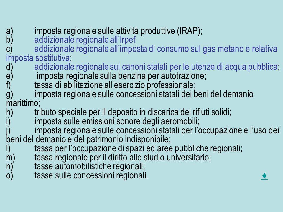 a)imposta regionale sulle attività produttive (IRAP); b)addizionale regionale all'Irpef c)addizionale regionale all'imposta di consumo sul gas metano e relativa imposta sostitutiva; d)addizionale regionale sui canoni statali per le utenze di acqua pubblica; e) imposta regionale sulla benzina per autotrazione; f)tassa di abilitazione all'esercizio professionale; g)imposta regionale sulle concessioni statali dei beni del demanio marittimo; h)tributo speciale per il deposito in discarica dei rifiuti solidi; i)imposta sulle emissioni sonore degli aeromobili; j)imposta regionale sulle concessioni statali per l'occupazione e l'uso dei beni del demanio e del patrimonio indisponibile; l)tassa per l'occupazione di spazi ed aree pubbliche regionali; m)tassa regionale per il diritto allo studio universitario; n)tasse automobilistiche regionali; o)tasse sulle concessioni regionali.