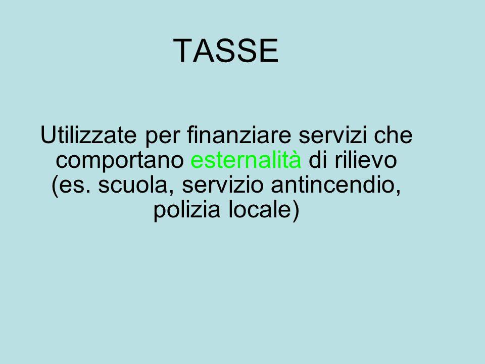 TASSE Utilizzate per finanziare servizi che comportano esternalità di rilievo (es. scuola, servizio antincendio, polizia locale)