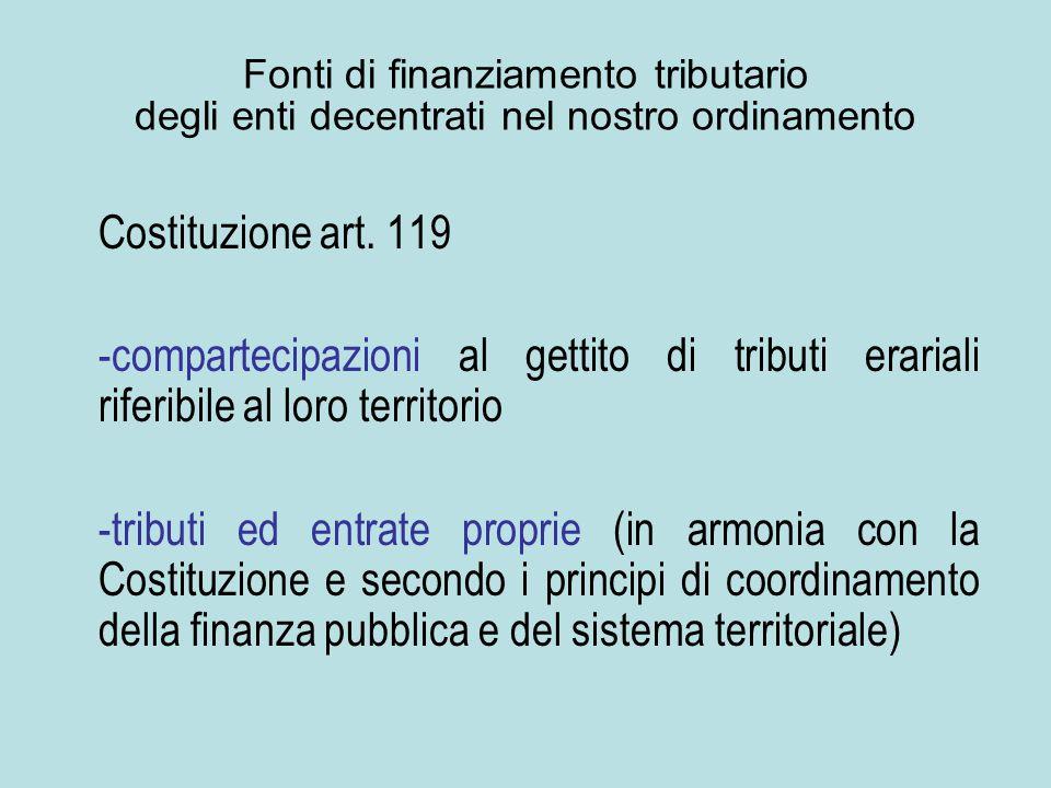 Fonti di finanziamento tributario degli enti decentrati nel nostro ordinamento Costituzione art. 119 -compartecipazioni al gettito di tributi erariali
