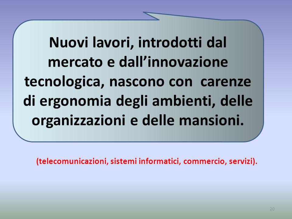 (telecomunicazioni, sistemi informatici, commercio, servizi).