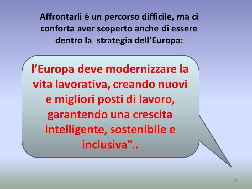 34 l'Europa deve modernizzare la vita lavorativa, creando nuovi e migliori posti di lavoro, garantendo una crescita intelligente, sostenibile e inclusiva ..