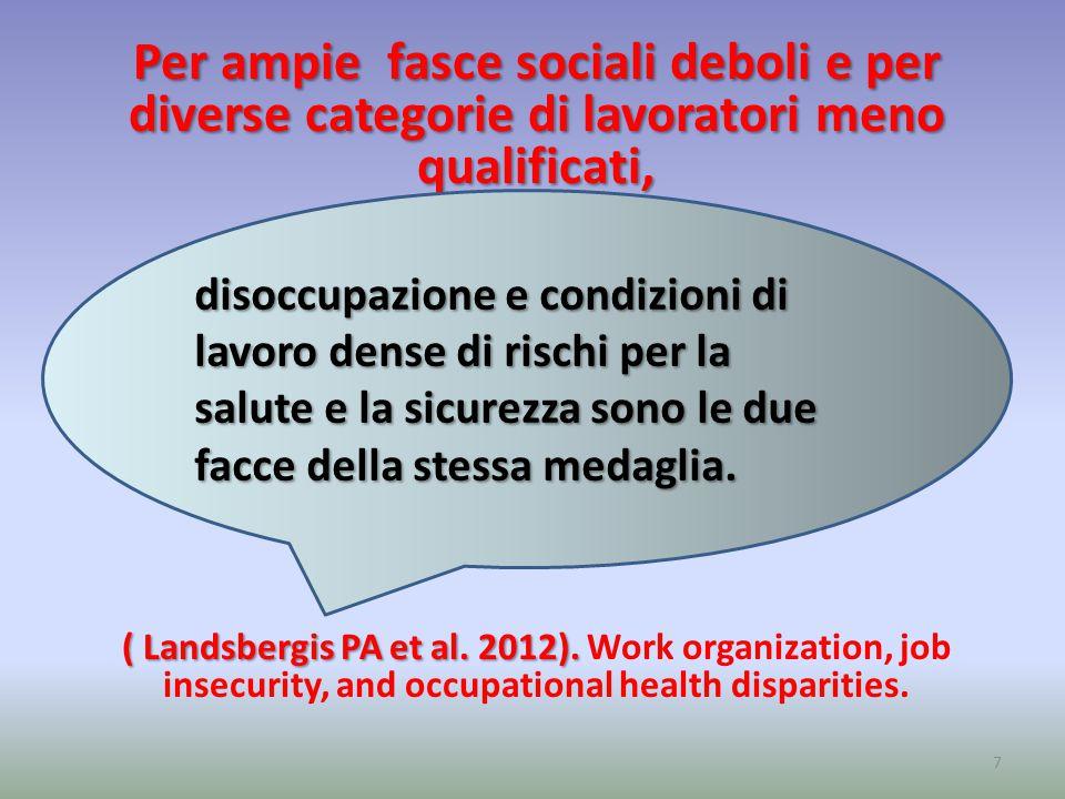 Per ampie fasce sociali deboli e per diverse categorie di lavoratori meno qualificati, ( Landsbergis PA et al.