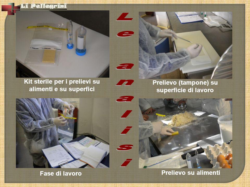 Li Pellegrini Prelievo su alimenti Kit sterile per i prelievi su alimenti e su superfici Fase di lavoro Prelievo (tampone) su superficie di lavoro
