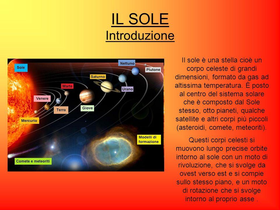 IL SOLE Introduzione Il sole è una stella cioè un corpo celeste di grandi dimensioni, formato da gas ad altissima temperatura. È posto al centro del s