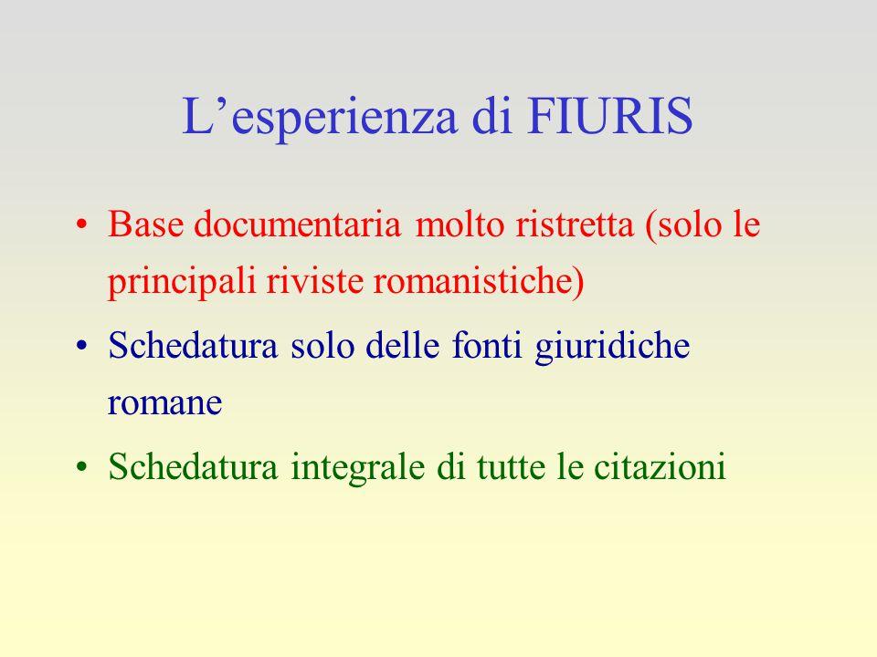 L'esperienza di FIURIS Base documentaria molto ristretta (solo le principali riviste romanistiche) Schedatura solo delle fonti giuridiche romane Sched