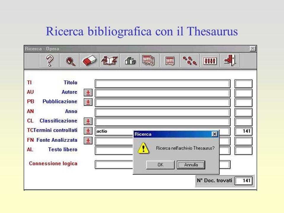 Ricerca bibliografica con il Thesaurus