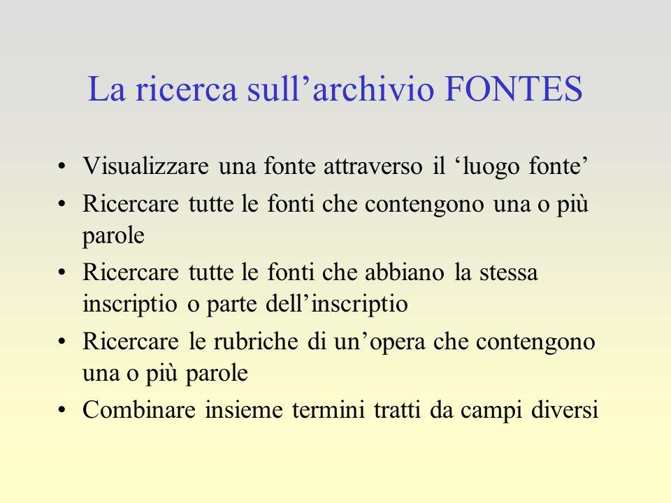 La ricerca sull'archivio FONTES Visualizzare una fonte attraverso il 'luogo fonte' Ricercare tutte le fonti che contengono una o più parole Ricercare