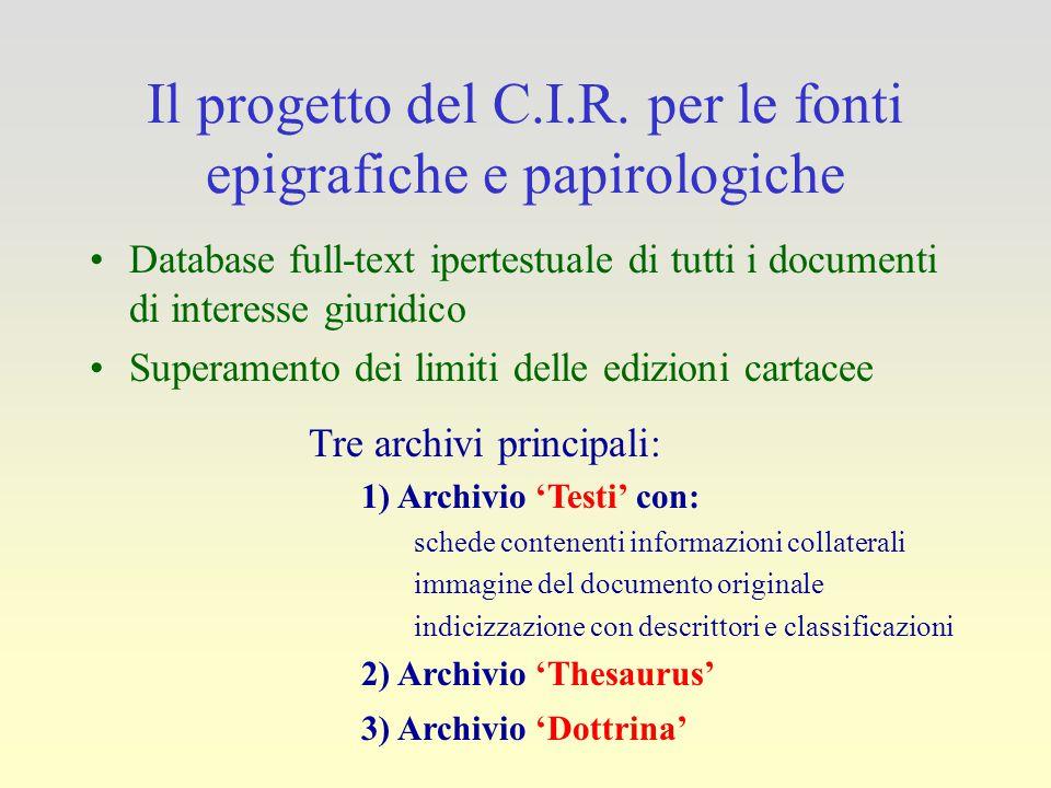 Il progetto del C.I.R. per le fonti epigrafiche e papirologiche Database full-text ipertestuale di tutti i documenti di interesse giuridico Superament