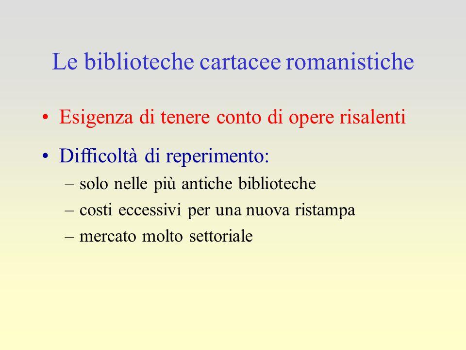 Le biblioteche cartacee romanistiche Esigenza di tenere conto di opere risalenti Difficoltà di reperimento: –solo nelle più antiche biblioteche –costi