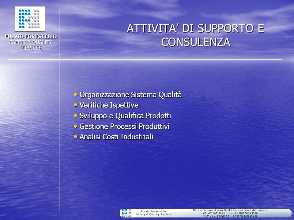 ATTIVITA' DI SUPPORTO E CONSULENZA Organizzazione Sistema Qualità Organizzazione Sistema Qualità Verifiche Ispettive Verifiche Ispettive Sviluppo e Qu