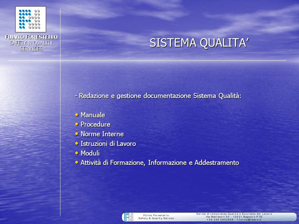 SISTEMA QUALITA' - Redazione e gestione documentazione Sistema Qualità: Manuale Manuale Procedure Procedure Norme Interne Norme Interne Istruzioni di