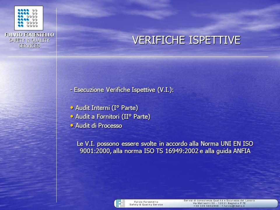VERIFICHE ISPETTIVE - Esecuzione Verifiche Ispettive (V.I.): Audit Interni (I° Parte) Audit Interni (I° Parte) Audit a Fornitori (II° Parte) Audit a F