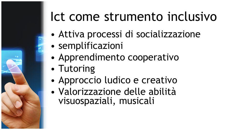 Ict come strumento inclusivo Attiva processi di socializzazione semplificazioni Apprendimento cooperativo Tutoring Approccio ludico e creativo Valoriz