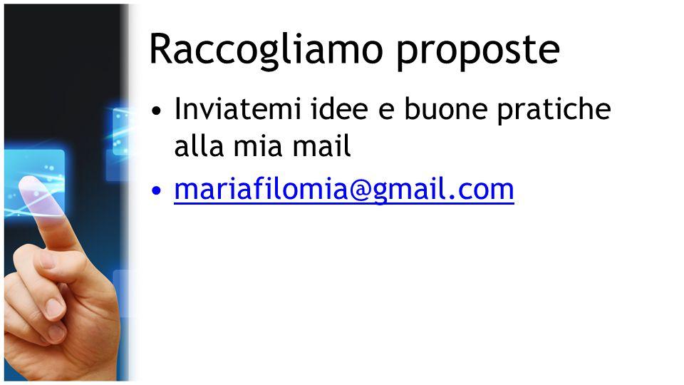 Raccogliamo proposte Inviatemi idee e buone pratiche alla mia mail mariafilomia@gmail.com
