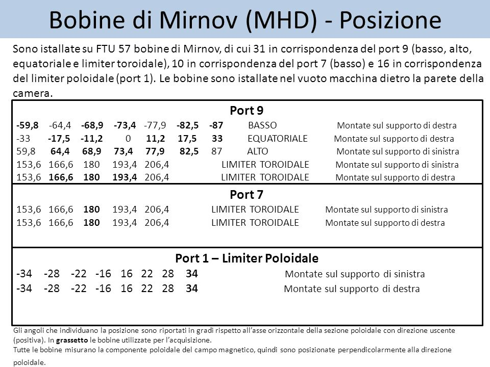 Bobine di Mirnov (MHD) - Posizione Sono istallate su FTU 57 bobine di Mirnov, di cui 31 in corrispondenza del port 9 (basso, alto, equatoriale e limiter toroidale), 10 in corrispondenza del port 7 (basso) e 16 in corrispondenza del limiter poloidale (port 1).