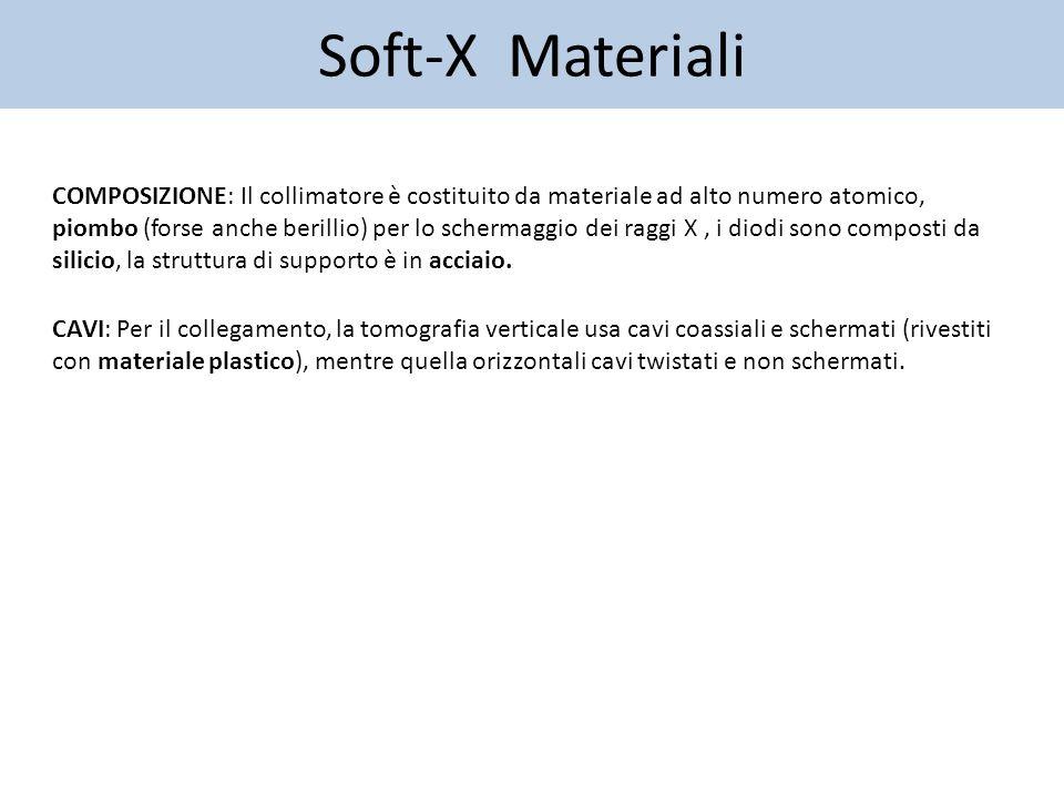 Soft-X Materiali CAVI: Per il collegamento, la tomografia verticale usa cavi coassiali e schermati (rivestiti con materiale plastico), mentre quella orizzontali cavi twistati e non schermati.
